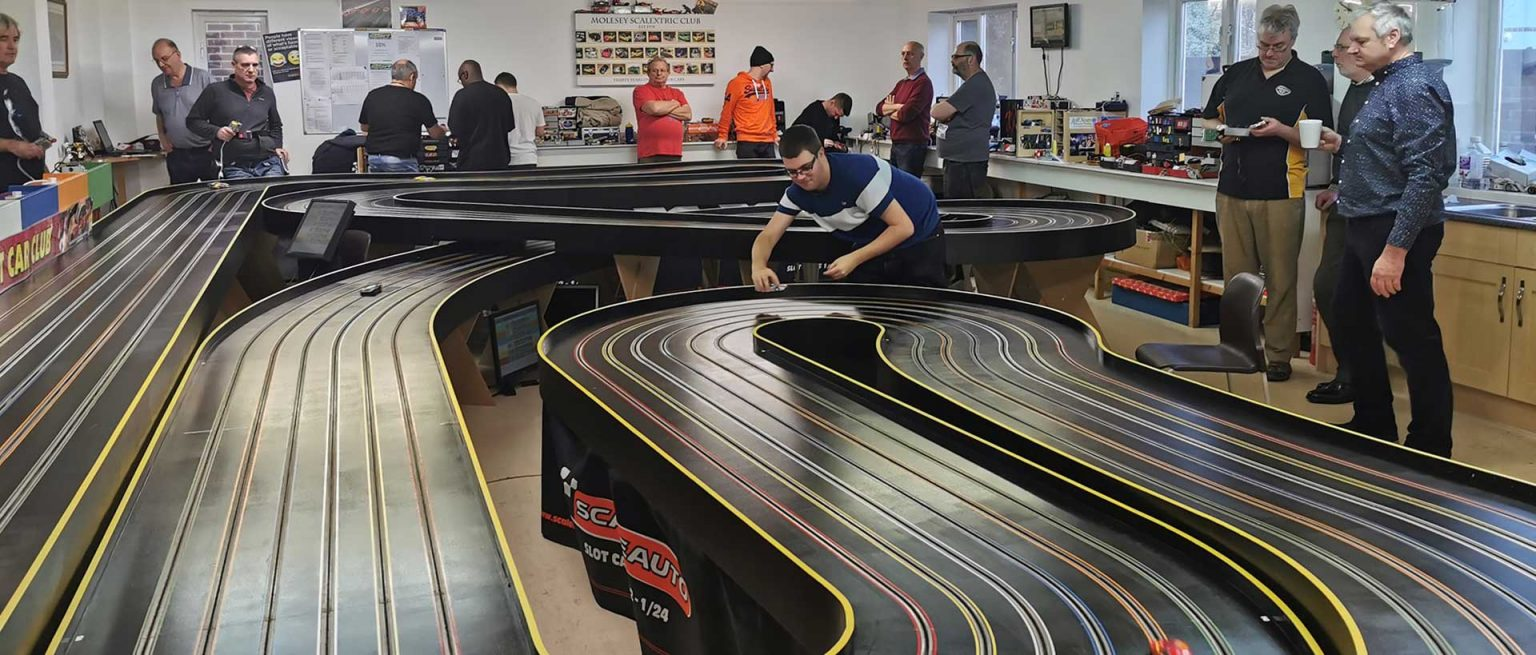 Molesey Scalextric Club clubroom and track
