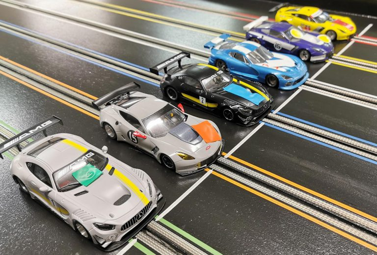 Molesey Scalextric Club cars on startline GT Open 2019