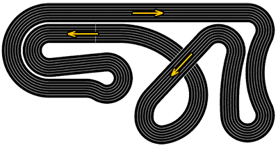 Molesey Scalextric Club track outline and direction