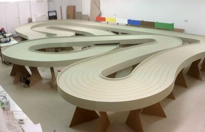 Molesey Scalextric Club new track build waiting for paint 2018