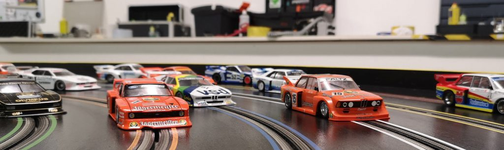 Molesey Scalextric Club Sideways Group 5 cars on track