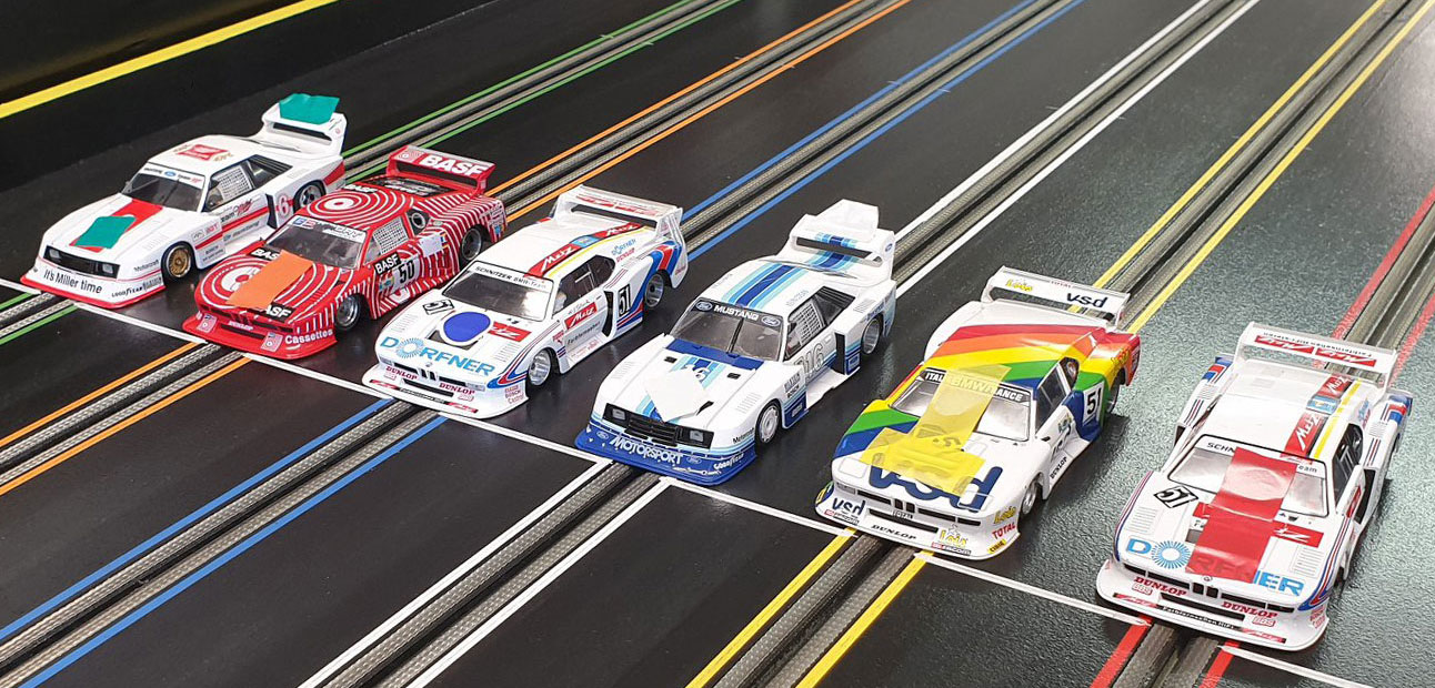 Molesey Scalextric Club Sideways Group 5 cars on startline