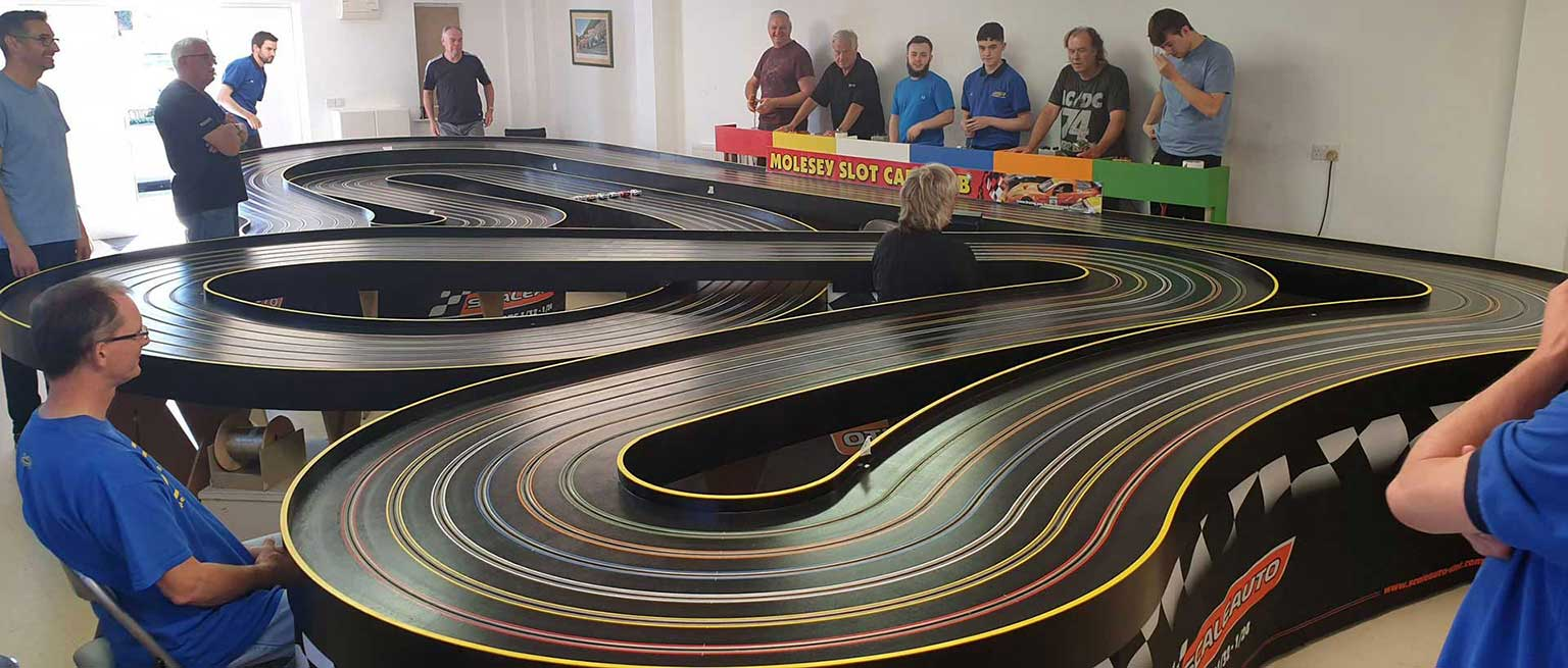 Molesey Scalextric Club track and clubroom