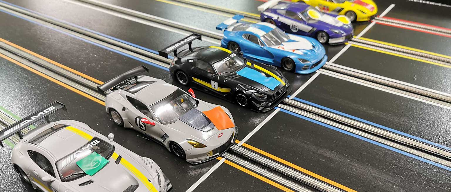 Molesey Scalextric Club cars lined up on startline