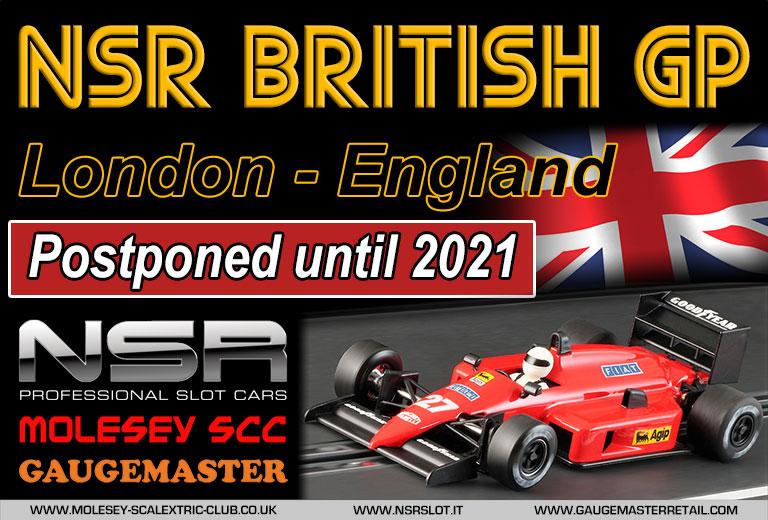 Molesey Scalextric Club NSR British GP poster - postponed until 2021