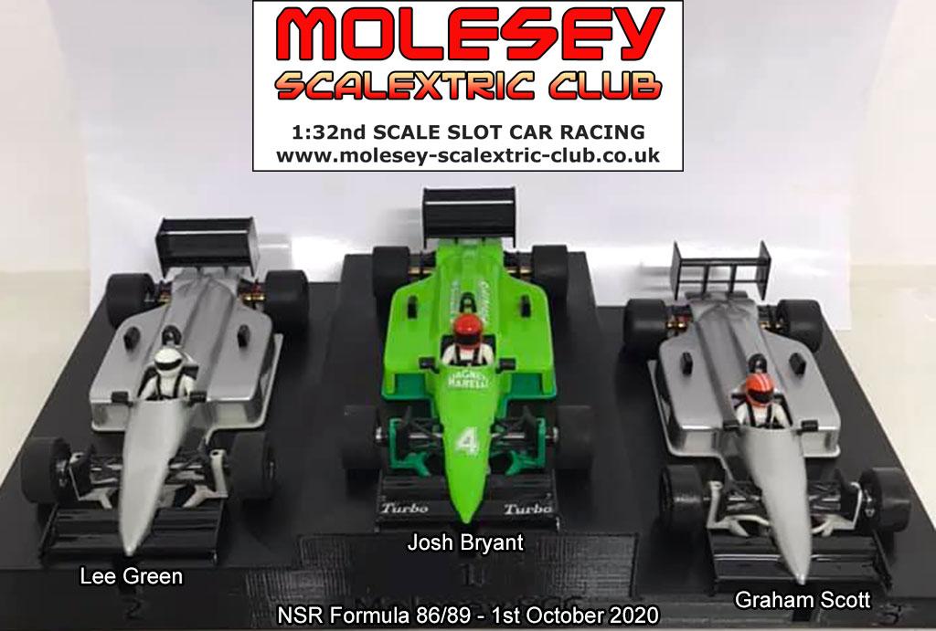 Molesey Scalextric Club podium 1st October 2020 NSR Formula 86/89