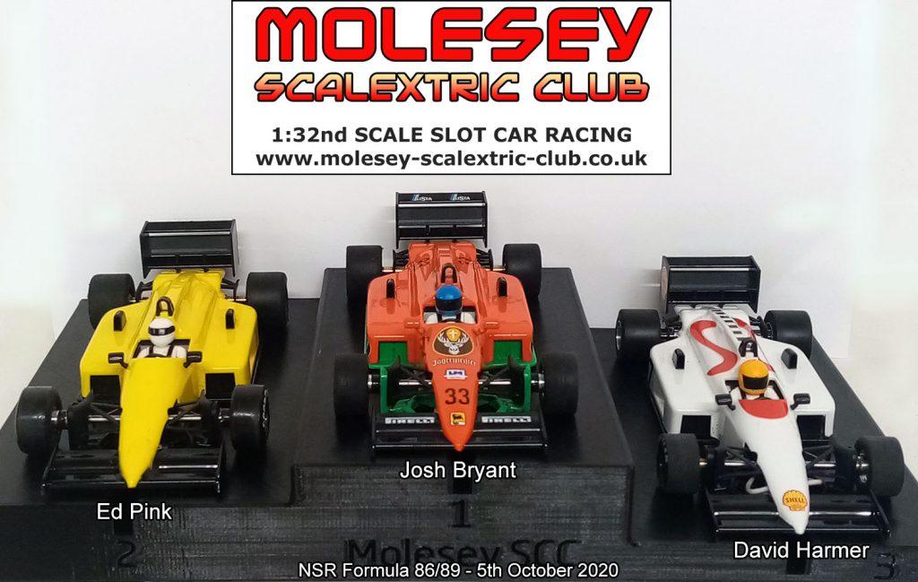 Molesey Scalextric Club podium 5th October 2020 NSR Formula 86/89