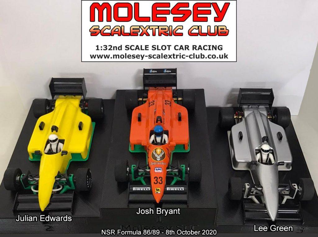 Molesey Scalextric Club podium 8th October 2020 NSR Formula 86/89