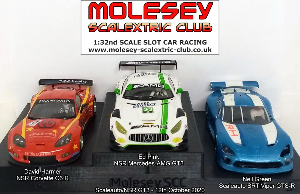 Molesey Scalextric Club podium 12th October 2020 Scaleauto/NSR GT3