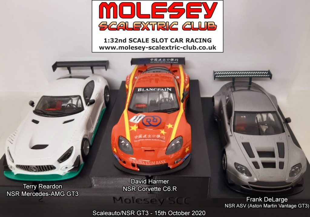 Molesey Scalextric Club podium 15th October 2020 Scaleauto/NSR GT3