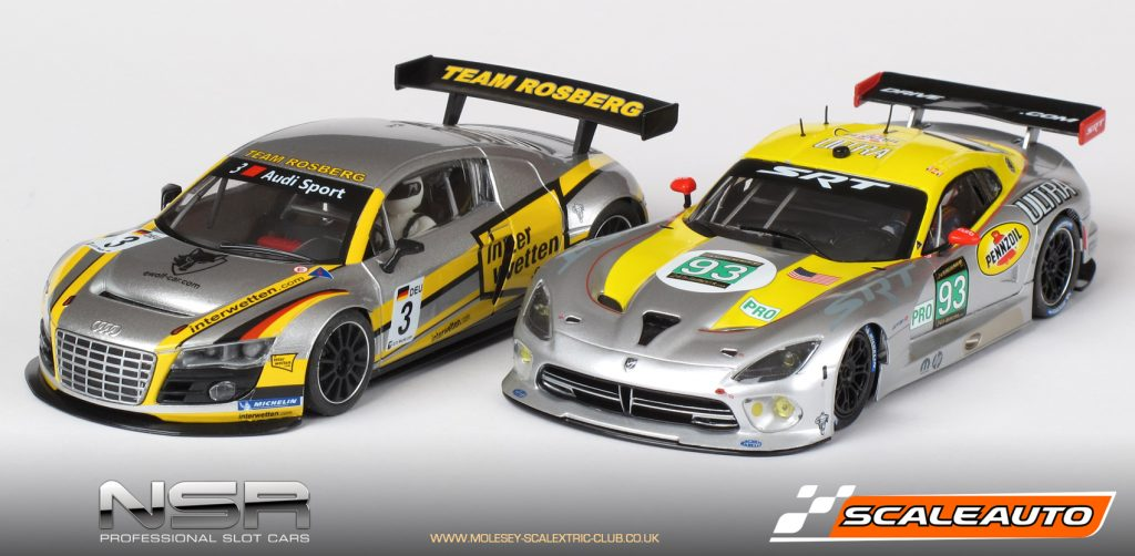 NSR Audi R8 LMS and Scaleauto SRT Viper GTS-R GT3 slot cars
