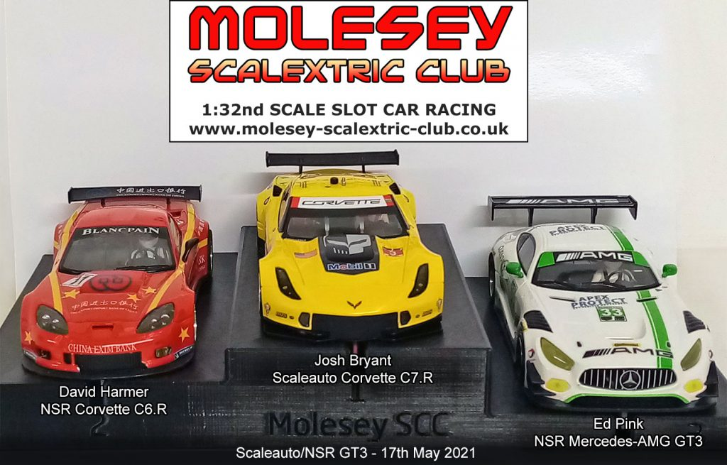 Molesey Scalextric Club podium 17th May 2021 Scaleauto/NSR GT3