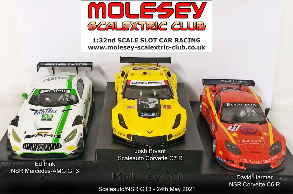 Molesey Scalextric Club podium 24th May 2021 Scaleauto/NSR GT3