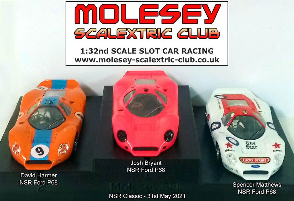 Molesey Scalextric Club podium 31st May 2021 NSR Classic