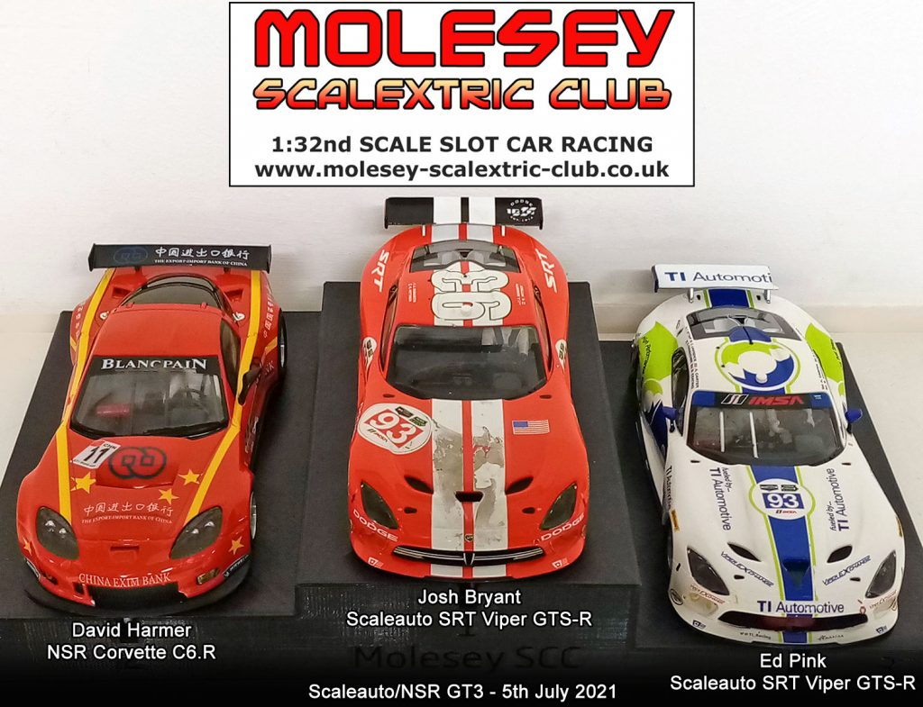 Molesey Scalextric Club podium 5th July 2021 Scaleauto/NSR GT3