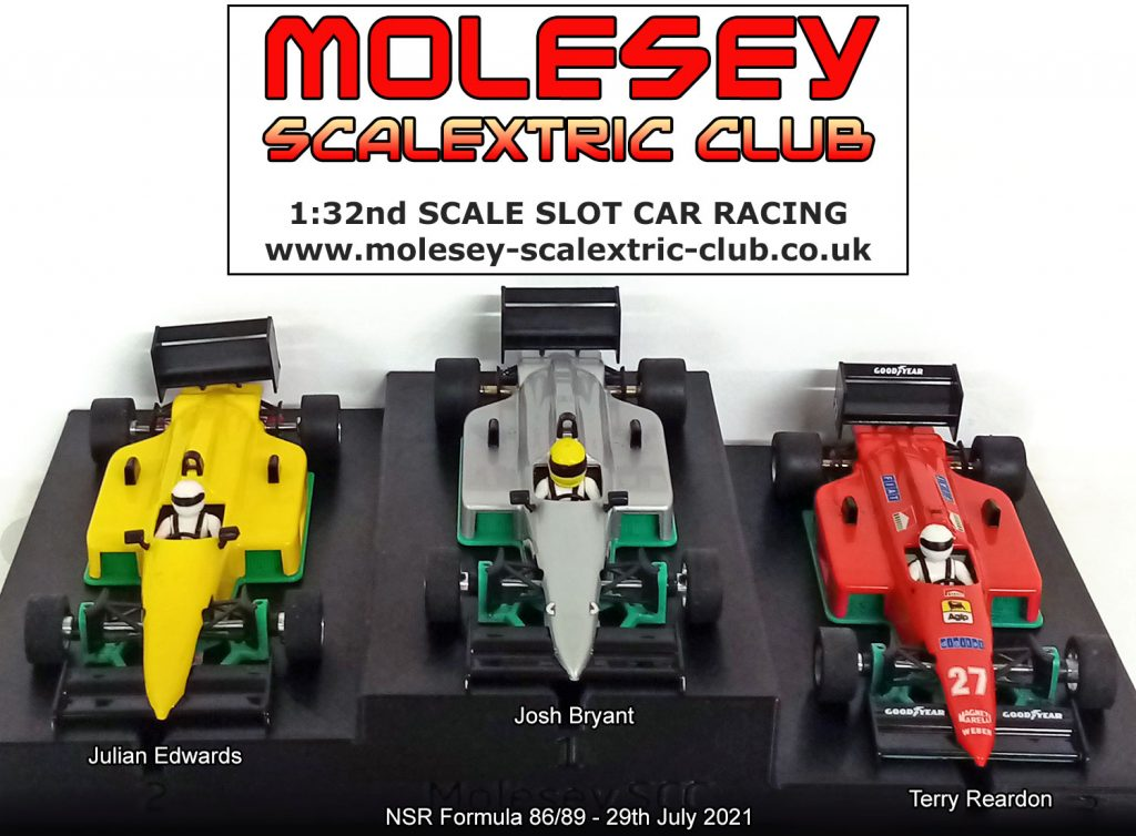 Molesey Scalextric Club podium 29th July 2021 NSR Formula 86/89