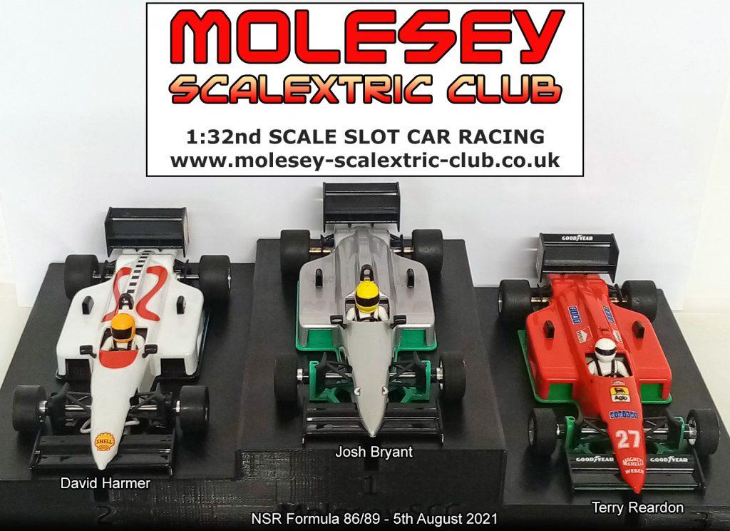 Molesey Scalextric Club podium 5th August 2021 NSR Formula 86/89