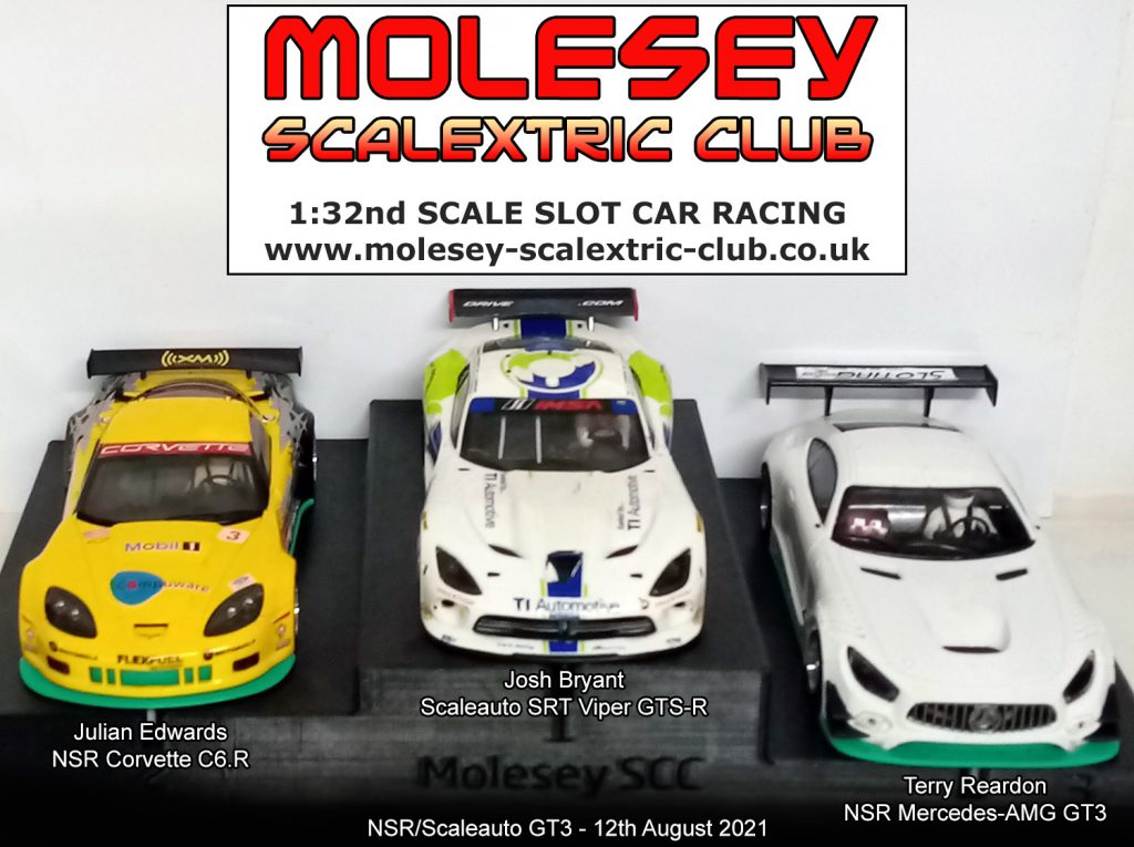 Molesey Scalextric Club podium 12th August 2021 NSR/Scaleauto GT3